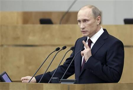 Russia's Prime Minister Vladimir Putin addresses the parliament at Russian State Duma in Moscow